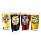 Irish Pub 16-Ounce Beer-Labeled Glasses (Set of 4)