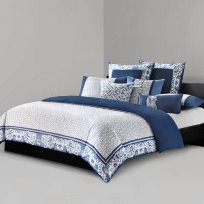 N Natori® Blue Porcelain King Duvet Cover