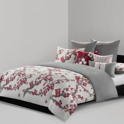 N Natori® Cherry Blossom European Pillow Sham in Charcoal
