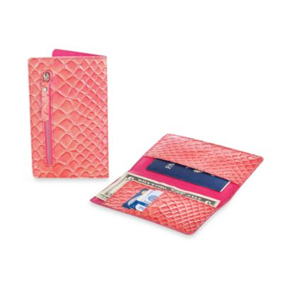 RFID Blocking Passport Wallet in Coral Crocodile