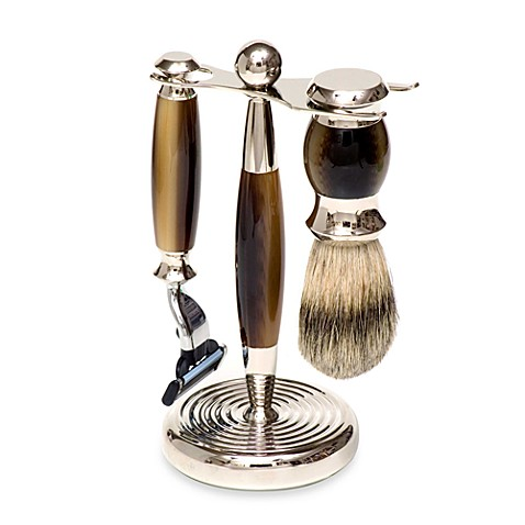 Gold-Dachs Faux Horn 3-Piece Shaving Set