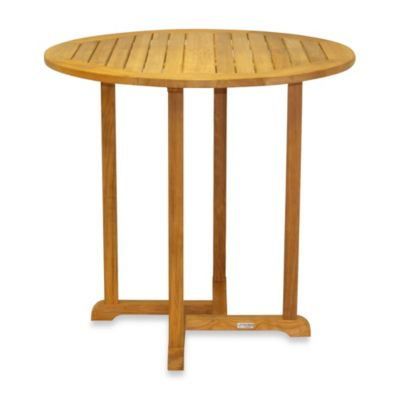 Three Birds Casual Oxford Round 36-Inch Teak Bar Table