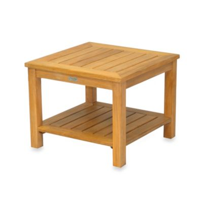 Solid Teak Square Side Table with Lower Shelf
