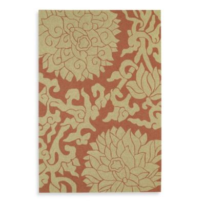 Kaleen Bahama Rose 7-Foot 9-Inch Square Indoor/Outdoor Rug in Paprika