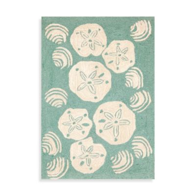 Shell Toss Indoor/Outdoor Rug in Aqua