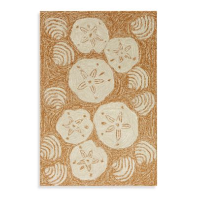 Trans-Ocean Shell Toss 3-Foot 6-Inch x 5-Foot 6-Inch Indoor/Outdoor Rug in Natural