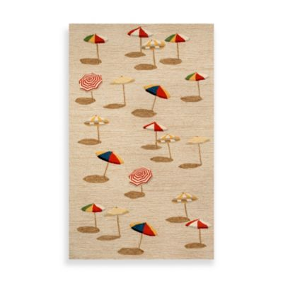 Beach Umbrella 2-Foot 6-Inch x 4-Foot Indoor/Outdoor Rug in Natural
