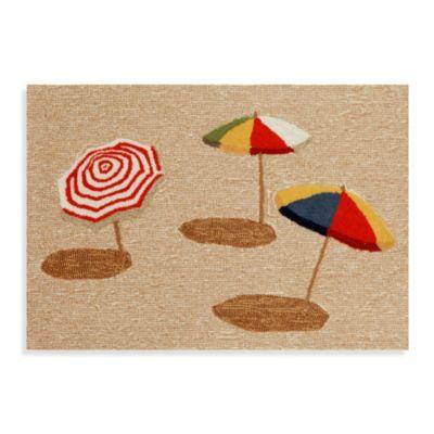 Beach Umbrella 2-Foot x 3-Foot Indoor/Outdoor Rug in Natural
