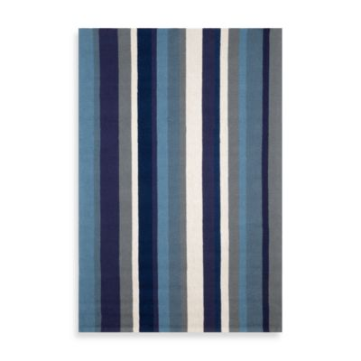 Trans-Ocean Vertical Stripe Marine 8-Foot 1/4-Inch x 11-Foot 1/2-Inch Indoor/Outdoor Rug