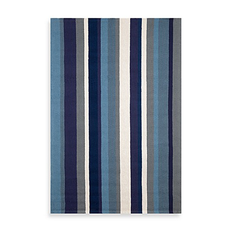 Trans-Ocean Vertical Stripe Marine 10-Foot Round Indoor/Outdoor Rug