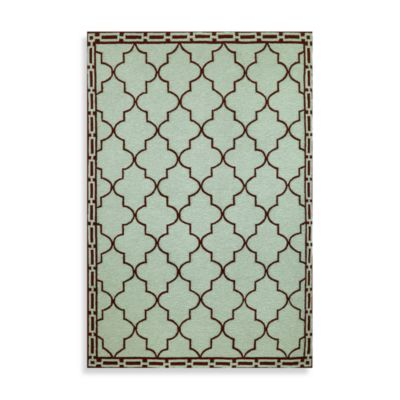 Trans-Ocean Floor Tile Aqua 8-Foot 3-Inch x 11-Foot 6-Inch Indoor/Outdoor Rug