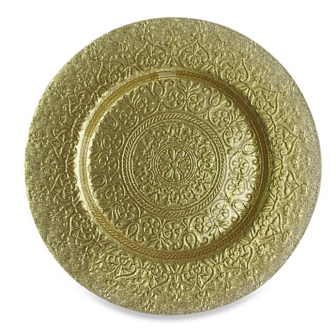 ChargeIt! By Jay Alinea Set of 4 Glass Charger Plates in Gold