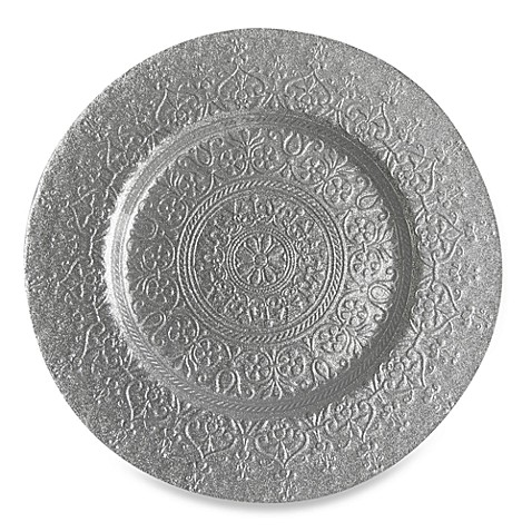 ChargeIt! By Jay Alinea Set of 4 Glass Charger Plates in Silver