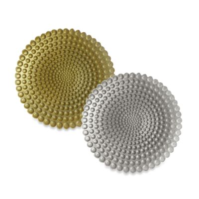 ChargeIt! By Jay Pearl Set of 4 Glass Charger Plate in Gold