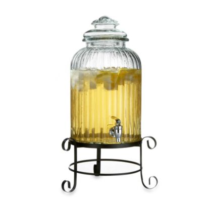 Style Setter Springfield Glass 10-Quart Beverage Dispenser With Metal Stand