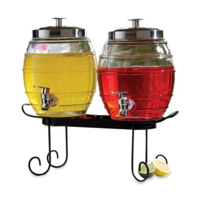 Style Setter 3-Piece Metal and Glass 9-Quart Pub Beverage Dispenser Set