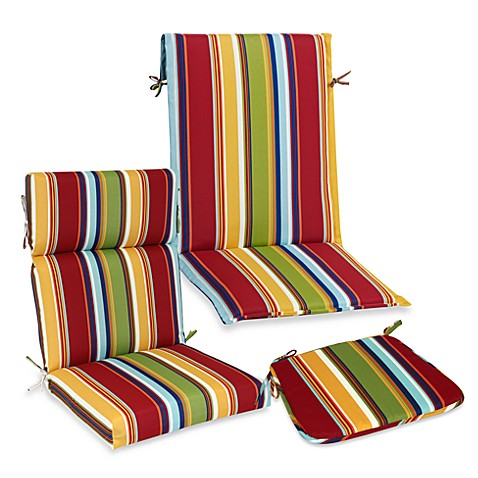 Outdoor Seat Cushion Collection in Bright Stripe