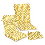 Outdoor Seat Cushion Collection in Yellow Trellis