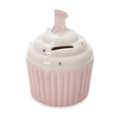 Argento First Birthday Pink Cupcake Piggy Bank