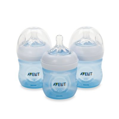 Avent Natural 4-Ounce Bottle in Blue (3-Pack)
