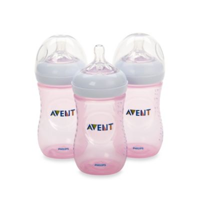 Avent Natural 9-Ounce Bottle in Pink (3-Pack)