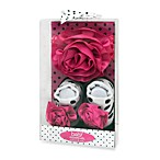 Baby Essentials Flower Newborn Headband and Bootie Set in Pink/Black