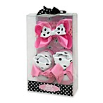 Baby Essentials Dots and Bows Newborn Headband and Sock Set in Pink and Black
