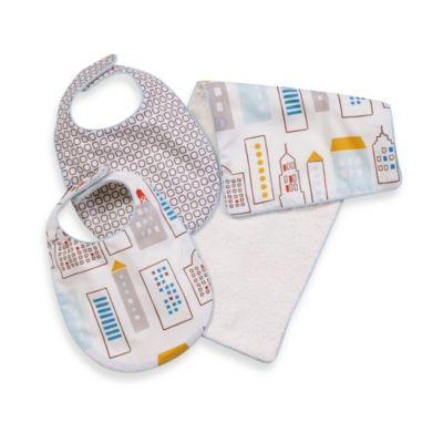Dwell Studio® Skyline LT. Blue Bib/Burp Set