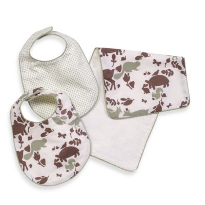 Dwell Studio™ Woodland Tumble Mocha Bibs & Burp Set