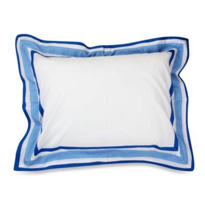 Blue White Flanged Sham