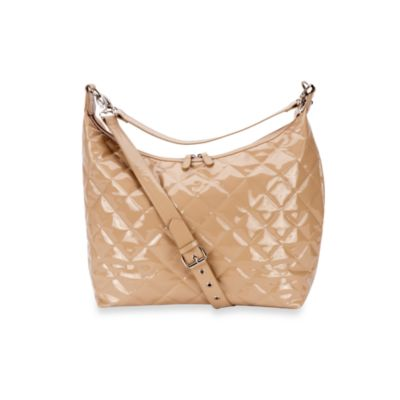 JP Lizzy Patent Hobo Diaper Bag in Caramel