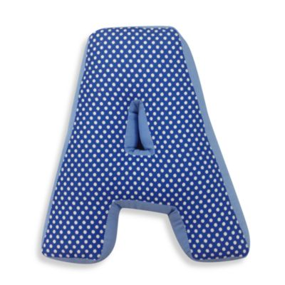 "One Grace Place Simplicity Letter ""A"" Pillow in Blue"