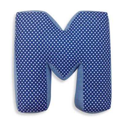 "One Grace Place Simplicity Letter ""M"" Pillow in Blue"