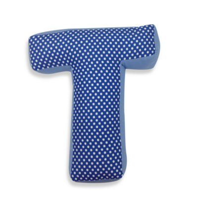 "One Grace Place Simplicity Letter ""T"" Pillow in Blue"