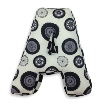 "One Grace Place Teyo's Tires Letter ""A"" Pillow"