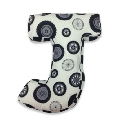 "One Grace Place Teyo's Tires Letter ""J"" Pillow"