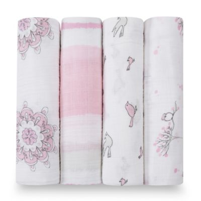 aden + anais® Classic 4-Pack Muslin Swaddles in For the Birds