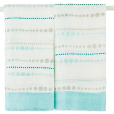aden + anais® Issie® 2-Pack Security Blankets in Azure Beads