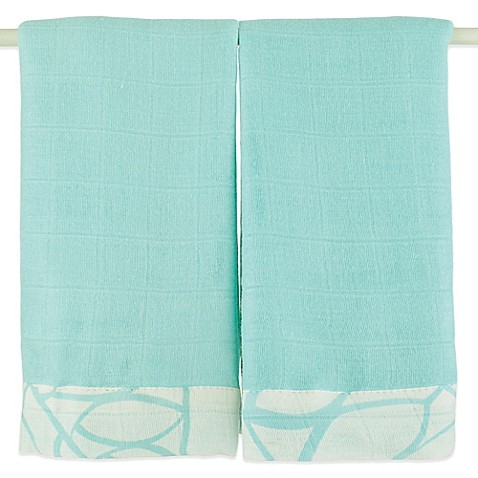 aden + anais® Bamboo Issie® 2-Pack Security Blankets in Azure Solid Aqua