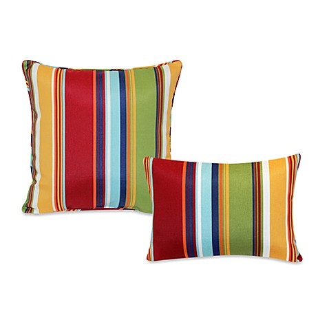 Outdoor Throw Pillow Collection in Bright Stripe