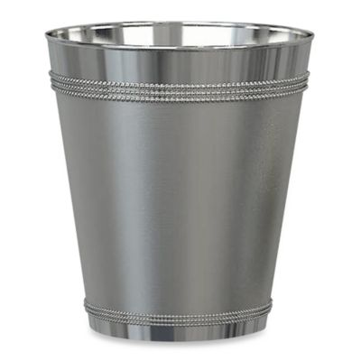 Beaded Metallic Wastebasket in Stainless Steel