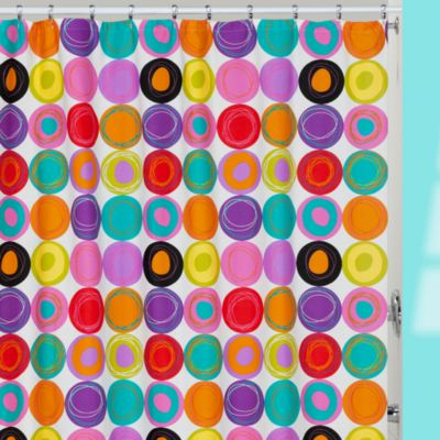 Dot Swirl Bright Fabric Shower Curtain
