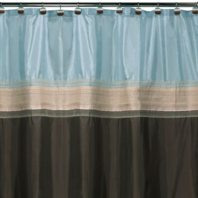 buy brown blue shower curtain from bed bath