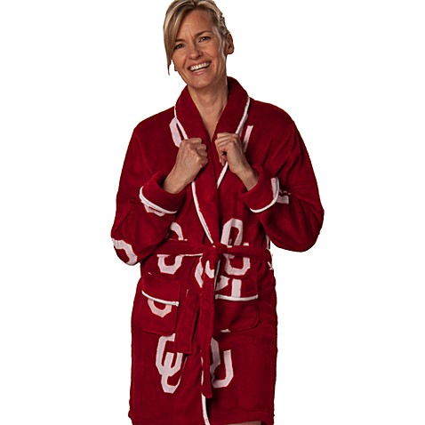 University of Oklahoma Small Ladies Fleece Bathrobe in Crimson