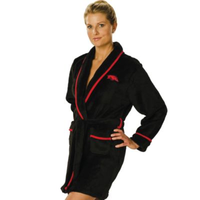 University of Arkansas Small Ladies Fleece Bathrobe in Black