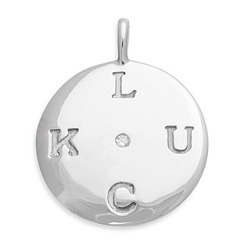 emma&me® Sterling Silver and Diamond LUCK Classic Disc Charm w/Chain