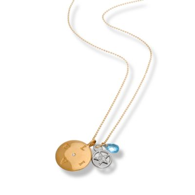 emma&me forever™ Blue Topaz and Diamond LIVE Cluster Necklace