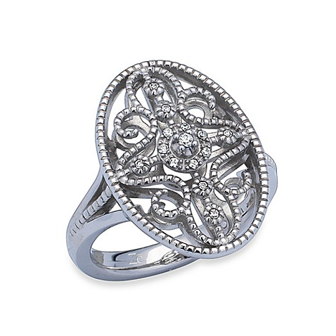 Ze™ Sterling Silver Oval Diamond Accent Ring - Size 7