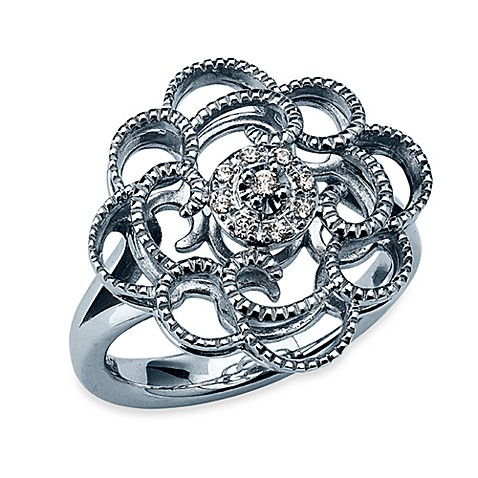 Ze™ Sterling Silver Round Floral Diamond Accent Ring - Size 7