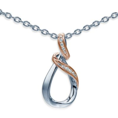 Ze™ Sterling Silver Diamond Wrap Around Rose Gold Accented 18-Inch Pendant Necklace